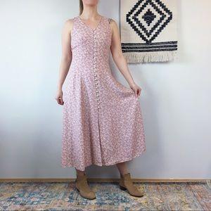 Western Summer SL Maxi Dress Pink Mini Floral M